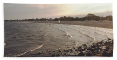 End Of Day   Sunset W Sailboat Hand Towel