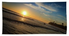 End Of Summer Sunset Surf Hand Towel