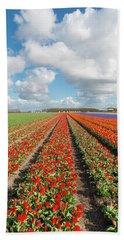 Endless Rows Of Blooming Tulips Bath Towel
