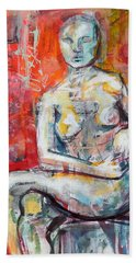 Bath Towel featuring the painting Energy In Stillness by Mary Schiros