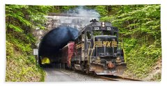 Engine 501 Coming Through The Brush Tunnel Hand Towel