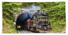 Engine 501 Coming Through The Brush Tunnel Bath Towel