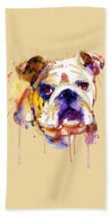 English Bulldog Head Bath Towel