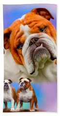 English Bulldog- No Border Bath Towel