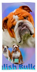 English Bulldog With Border Bath Towel