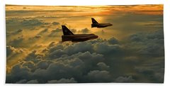 English Electric Lightning Sunset Flight Bath Towel by Ken Brannen