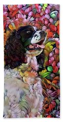 English Springer Spaniel In The Garden Bath Towel