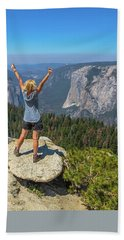 Enjoying At Yosemite Summit Hand Towel