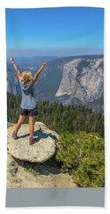Enjoying At Yosemite Summit Bath Towel