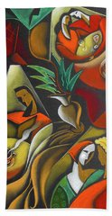 Bath Towel featuring the painting Enjoying Food And Drink by Leon Zernitsky