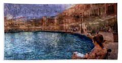 Enjoying The View On The Beach At Nice, France. Hand Towel