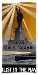 Enlist In The Navy - For Liberty's Sake Hand Towel by War Is Hell Store