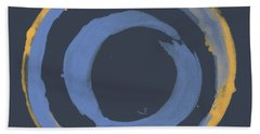 Hand Towel featuring the painting Enso T Blue Orange by Julie Niemela