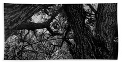 Enter The Woods In Black And White Bath Towel