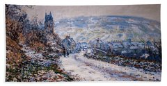 Entrance To The Village Of Vetheuil In Winter Hand Towel