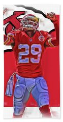 Eric Berry Kansas City Chiefs Oil Art Hand Towel by Joe Hamilton