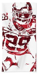Bath Towel featuring the mixed media Eric Berry Kansas City Chiefs Pixel Art 2 by Joe Hamilton