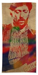 Eric Clapton Watercolor Portrait Hand Towel