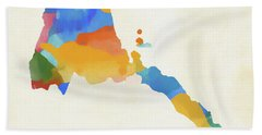 Eritrea Watercolor Map Hand Towel