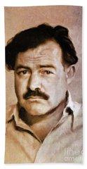 Ernest Hemingway, Literary Legend By Mary Bassett Bath Towel