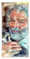 Ernest Hemingway Watercolor Bath Towel