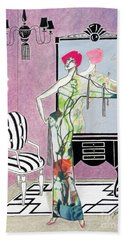Erte'-esque -- Art Deco Interior W/ Fashion Figure Hand Towel
