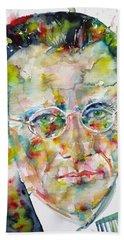 Bath Towel featuring the painting Erwin Schrodinger - Watercolor Portrait by Fabrizio Cassetta