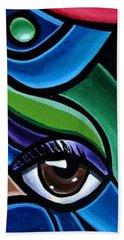 Colorful Abstract Art Painting, Modern Art Brown Eye Art Paintings Bath Towel