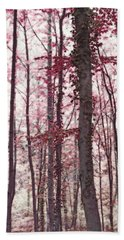 Ethereal Austrian Forest In Marsala Burgundy Wine Bath Towel
