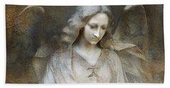 Ethereal Spiritual Stone Textured Angel In Prayer Hand Towel