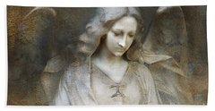 Ethereal Spiritual Stone Textured Angel In Prayer Bath Towel