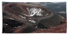 Etna, Red Mount Crater Hand Towel by Bruno Spagnolo