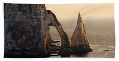 Etretat In Morning Sun Bath Towel