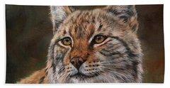Eurasian Lynx Bath Towel by David Stribbling