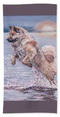 Hand Towel featuring the painting Eurasier In The Sea by Lee Ann Shepard