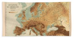 Europe - Geological Map Showing Land And Water Resources - Historical Map - Antique Relief Map Bath Towel