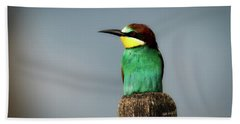 Bath Towel featuring the photograph European Bee Eater by Wolfgang Vogt