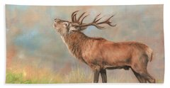 Hand Towel featuring the painting European Red Deer by David Stribbling