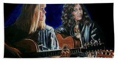 Bath Towel featuring the painting Eva Cassidy And Katie Melua by Bryan Bustard