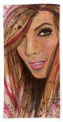 Bath Towel featuring the painting Eva Longoria by P J Lewis