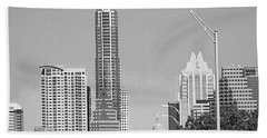 Even In #blackandwhite, The #skyline Of Bath Towel by Austin Tuxedo Cat