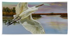 Bath Towel featuring the painting Evening At Campbell's Bayou by Phyllis Beiser