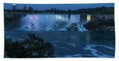 Hand Towel featuring the photograph Evening At Niagara Falls, New York View by Brenda Jacobs