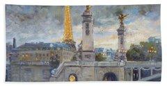 Evening At Pont Du Alexandre, Paris Hand Towel