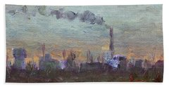 Evening By Industrial Site Hand Towel