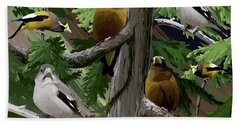 Evening Grosbeaks Bath Towel