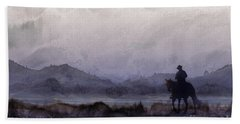 Bath Towel featuring the painting Evening Horseback Ride by Judy Filarecki
