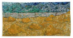 Bath Towel featuring the painting Evening Landscape With Rising Moon by Van Gogh