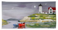Bath Towel featuring the painting Evening Lighthouse by Phyllis Kaltenbach