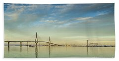 Evening Lights On The Bay Cadiz Spain Hand Towel